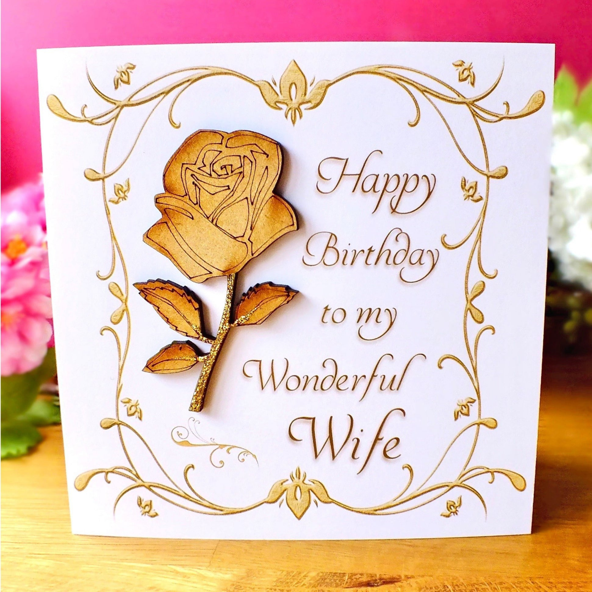 Luxury Wife Birthday Card - Rustic Sparkle