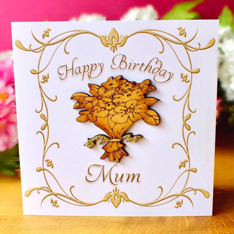 Birthday Card for Mum - Rustic Sparkle Bouquet Main