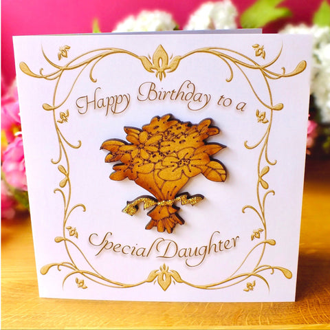 Daughter Birthday Card - Luxury Rustic Sparkle Main