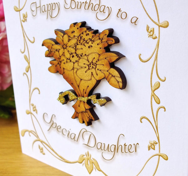 Daughter Birthday Card - Luxury Rustic Sparkle Close Up