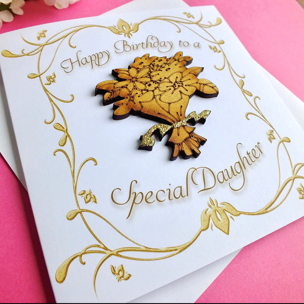 Daughter Birthday Card - Luxury Rustic Sparkle Alternate View