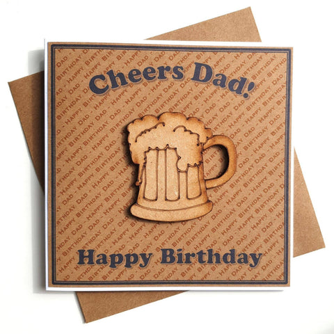 Birthday Card for Dad - Wooden Beer Glass Feature Main