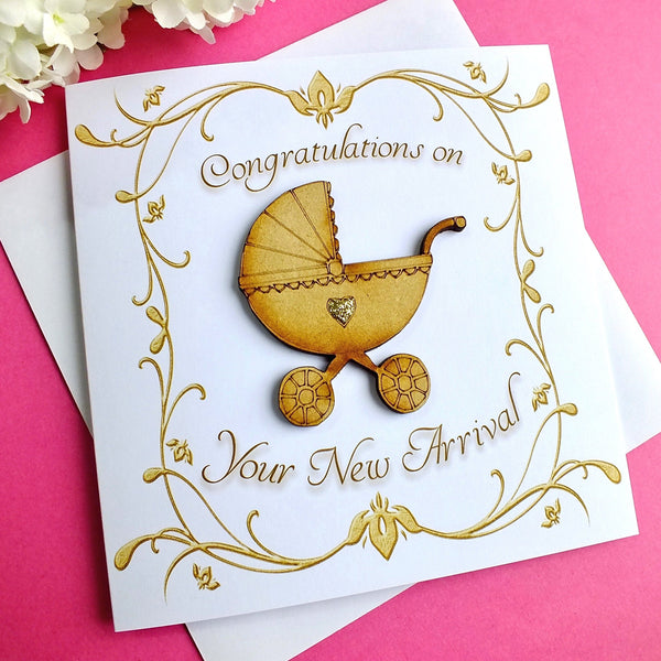 Luxury New Baby Card - Rustic Sparkle Front