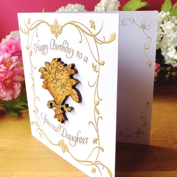 Daughter Birthday Card - Luxury Rustic Sparkle Side