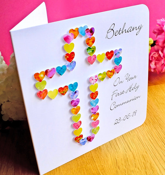 First Holy Communion Card - Hearts, Personalised