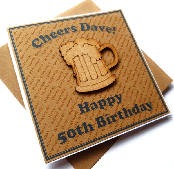 Personalised 'Beer' Birthday Card for Men -  Any Name & Age