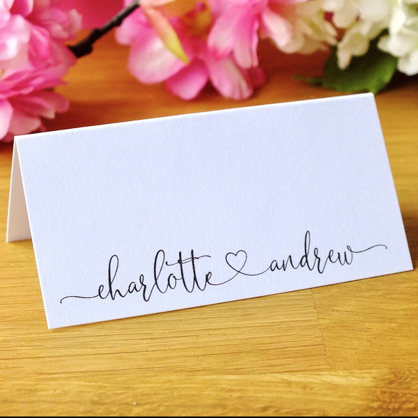 Personalised Wedding Place Cards - Pack of 12 Front