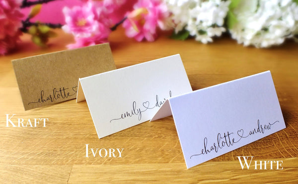 Personalised Wedding Place Cards - Pack of 12 Alternate B