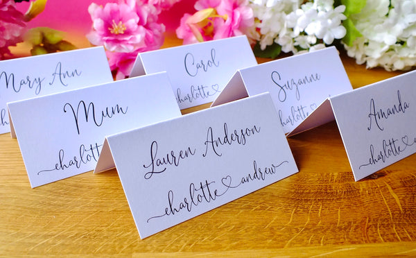 Personalised Wedding Place Cards - Pack of 12 Pack
