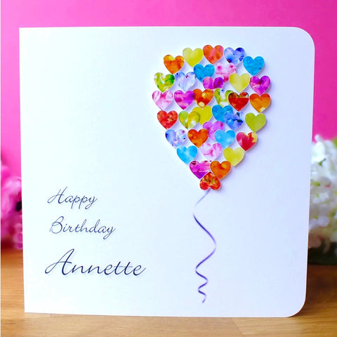 Personalised Single Balloon Birthday Card – Hearts