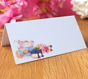 Afternoon Tea Place Cards - Vintage Wedding / Dinner - Pack of 12