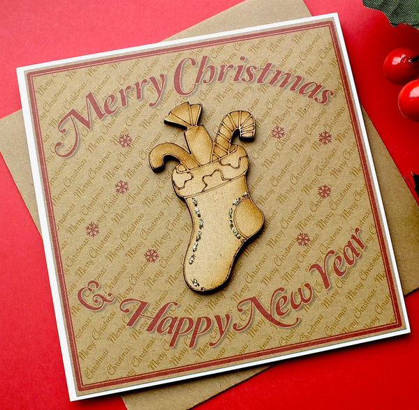 Luxury Rustic Christmas Card - 'Christmas Stocking'