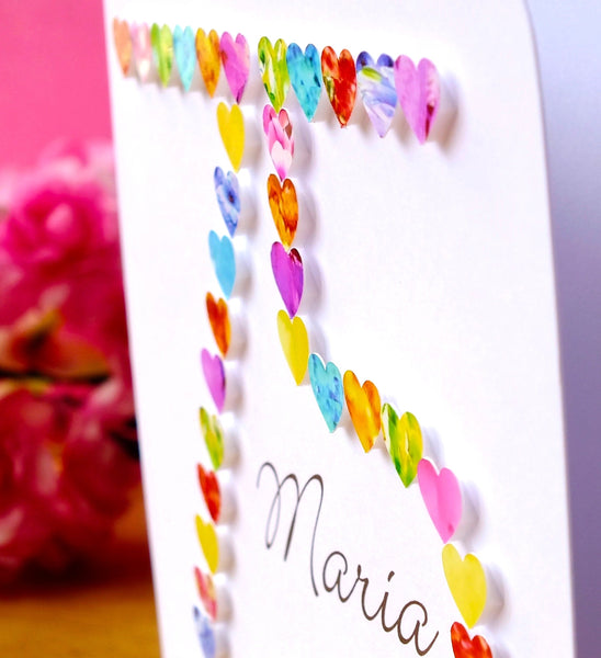 75th Birthday Card - Hearts, Personalised Close Up