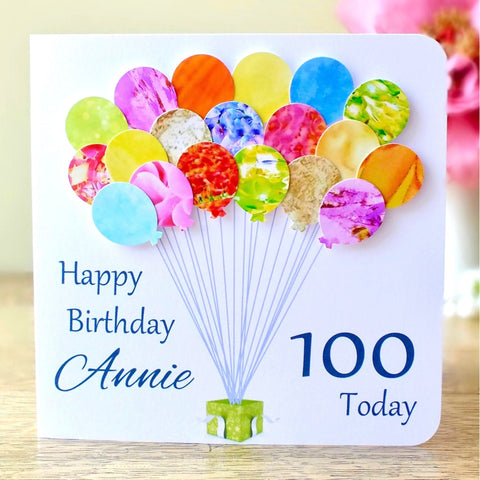 100th Birthday Card - Balloons, Personalised