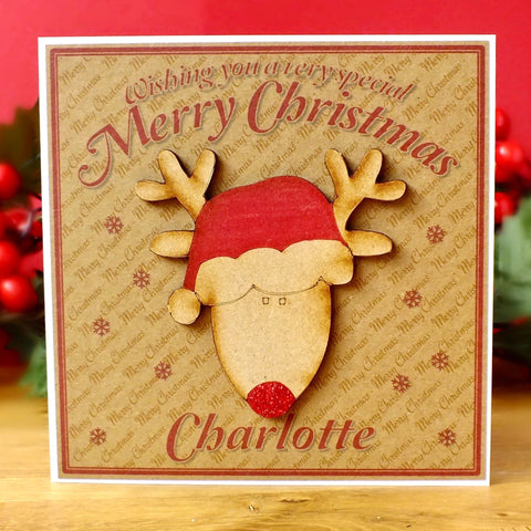 Luxury Personalised Christmas Card - Cute Rudolph