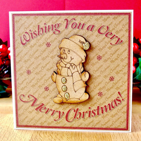 Luxury Christmas Card - 'Rustic Snowman'