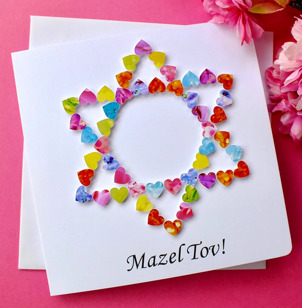 Mazel Tov / Congratulations Card - Hearts