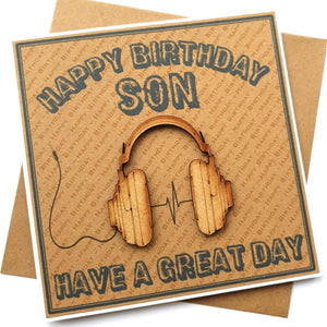 Son Birthday Card - Headphones