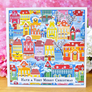 Pack of 4 Colourful Christmas Cards - Snowy Town Houses Main