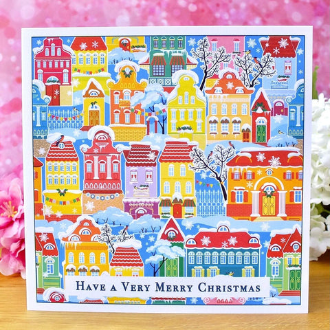 Pack of 4 Colourful Christmas Cards - Snowy Town Houses