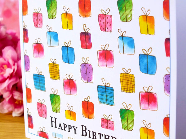 Pack of 4 'Gift Box' Birthday Cards Close Up