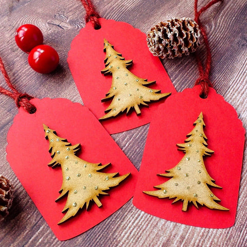 Pack of 3 Luxury Rustic Christmas Gift Tags - 'Christmas Tree'