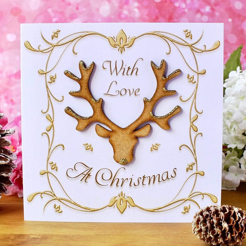 "Luxury 'With Love at Christmas' Card - ""Stag"" - Rustic Sparkle"