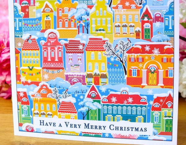 Pack of 4 Colourful Christmas Cards - Snowy Town Houses Close Up