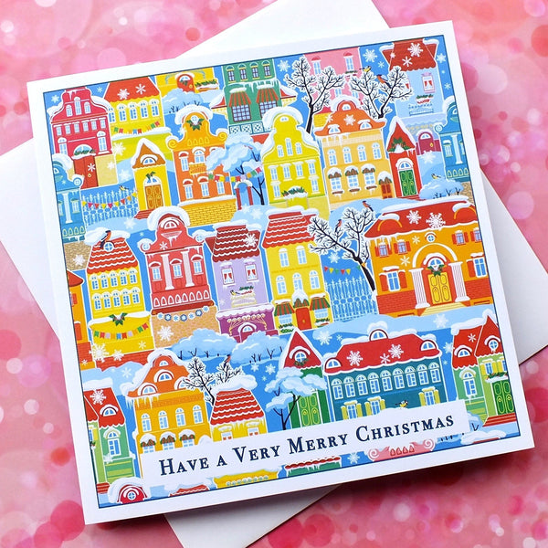Pack of 4 Colourful Christmas Cards - Snowy Town Houses Front