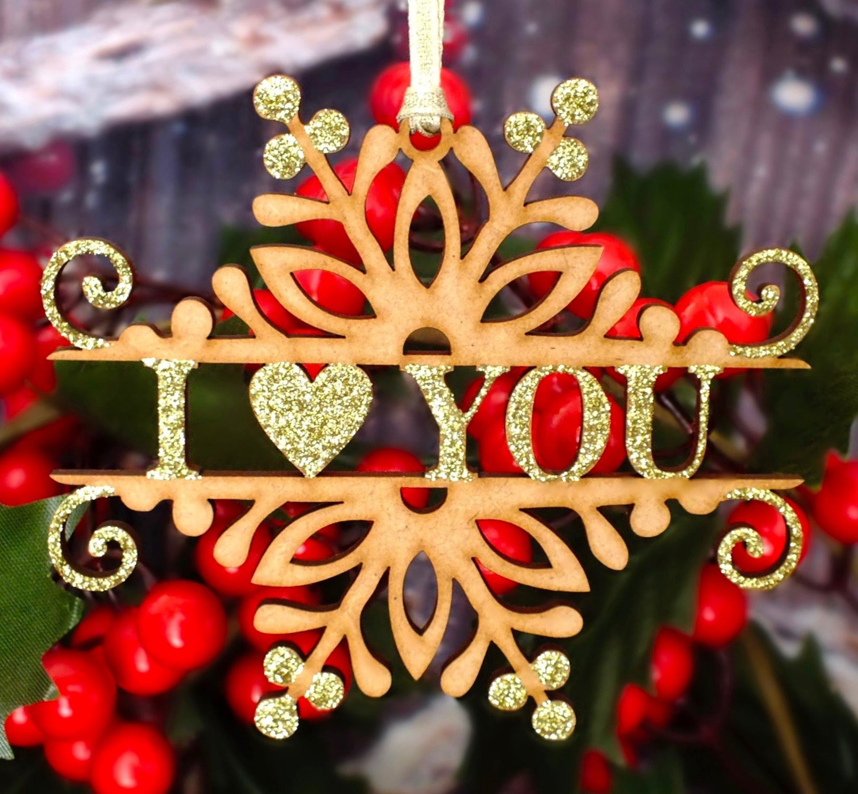Christmas 'I Love You' Wooden Hanging Decoration Main