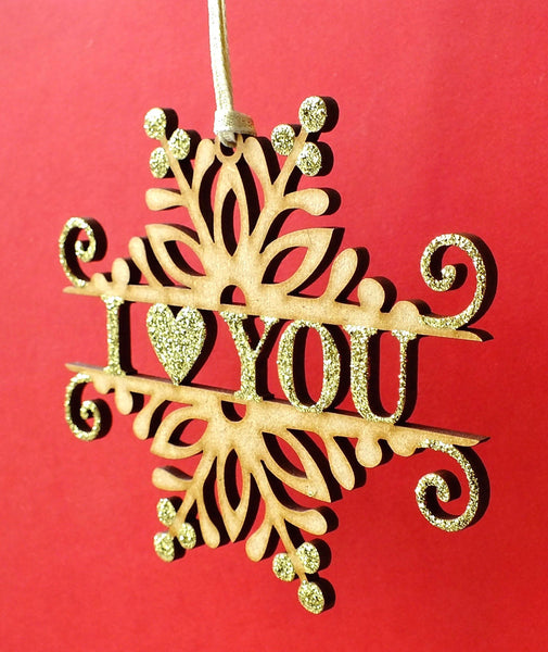 Christmas 'I Love You' Wooden Hanging Decoration Side