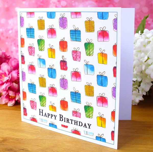Pack of 4 'Gift Box' Birthday Cards Side