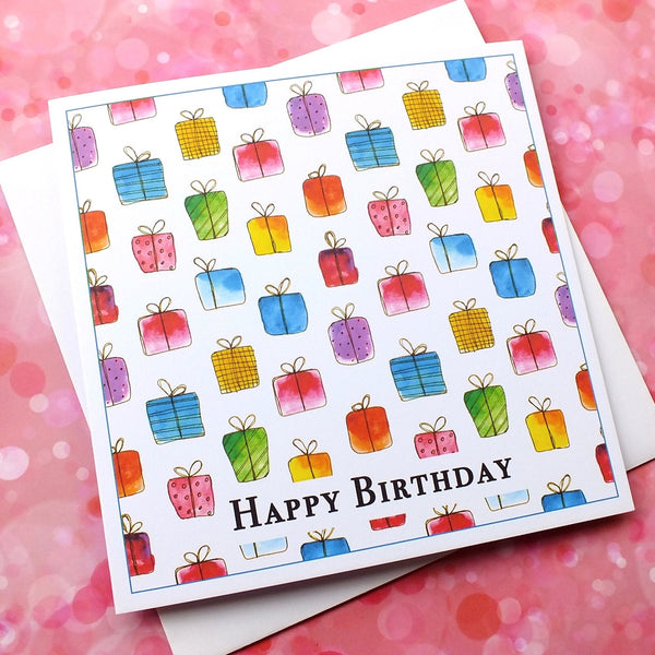 Pack of 4 'Gift Box' Birthday Cards Front