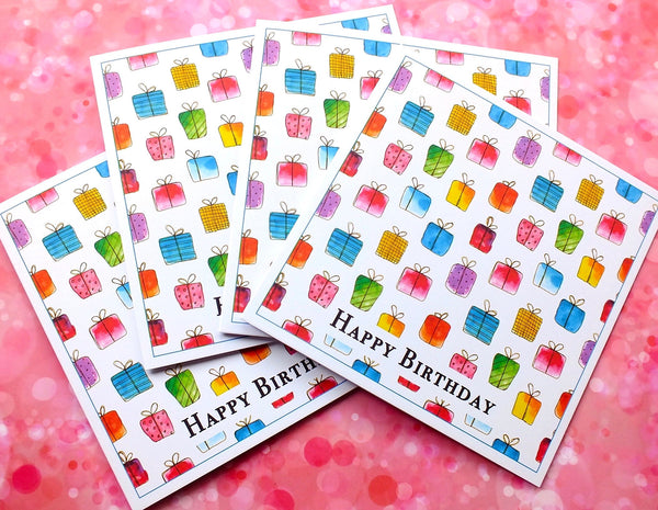 Pack of 4 'Gift Box' Birthday Cards Pack