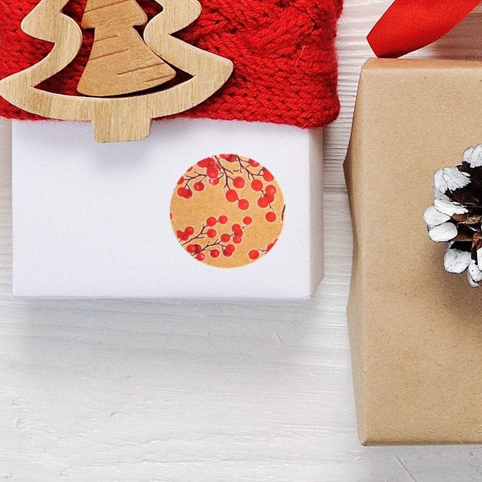 Recyclable & Biodegradable Christmas Stickers for Gift Wrapping, Kraft Brown & Red Berries - Set of 105 Main