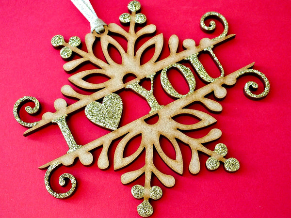 Christmas 'I Love You' Wooden Hanging Decoration Close Up
