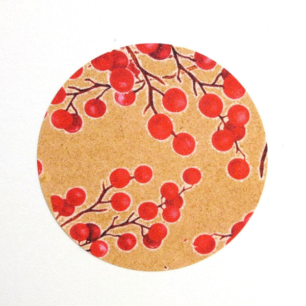 Recyclable & Biodegradable Christmas Stickers for Gift Wrapping, Kraft Brown & Red Berries - Set of 105 Close Up