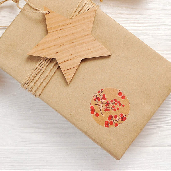 Recyclable & Biodegradable Christmas Stickers for Gift Wrapping, Kraft Brown & Red Berries - Set of 105 Alternate