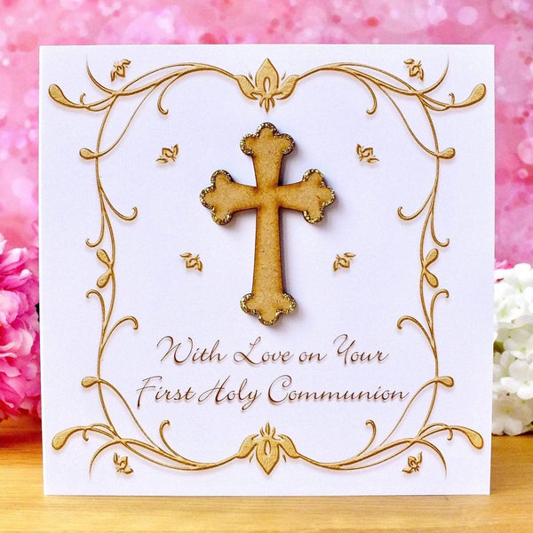 First Holy Communion Card - Rustic Sparkle