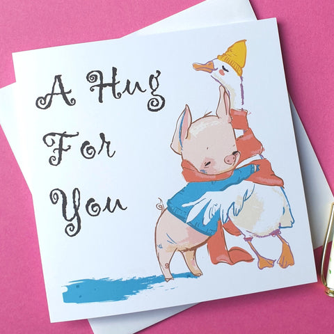A Hug For You Card - Cute Duck & Pig - Missing You / Thinking of You