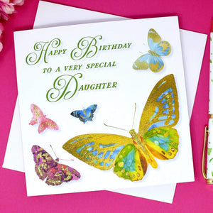 Special Daughter Birthday Card - Butterflies Main