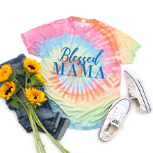 Load image into Gallery viewer, Blessed Mama Tie Dyed T-shirt