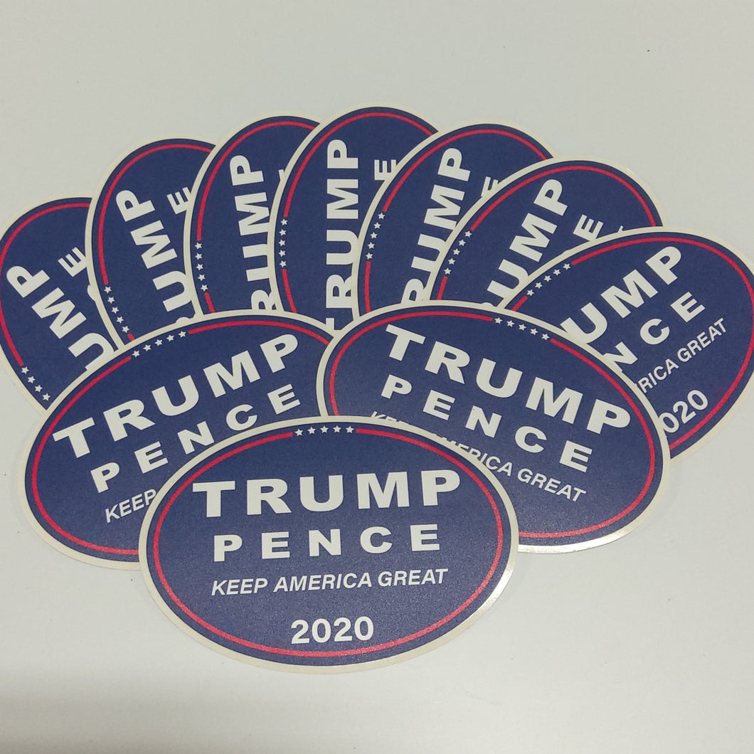 Trump/Pence 2020 Keep America Great decals, 10 Pack