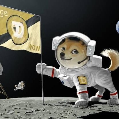 "Doge Wow flag on the moon Dogecoin 5"" sticker - All Out Canvas"