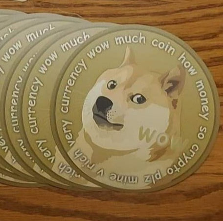 "Very currency wow much coin how money so crypto plz mine v rich Dogecoin 5"" sticker - All Out Canvas"