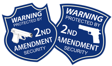 "Load image into Gallery viewer, Contour cut 2A 2nd Amendment Security stickers and yard sign 16""x18"" DOUBLE SIDED - All Out Canvas"