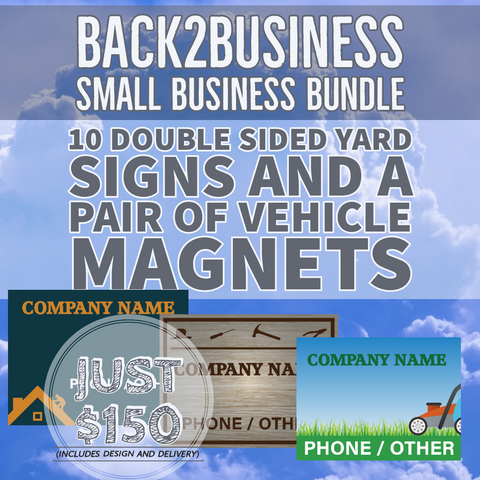 Small business yard sign and vehicle magnet bundle - All Out Canvas