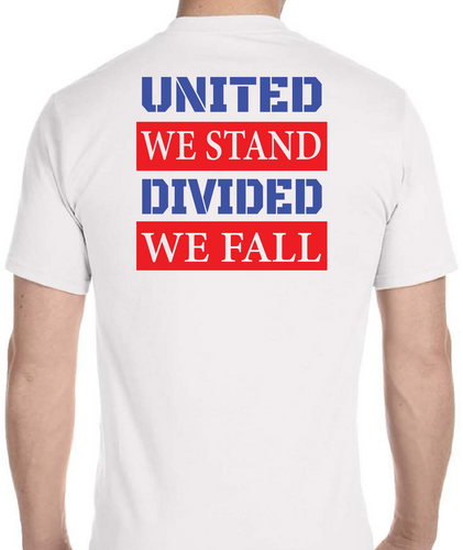 #StayOpenIL s/s T-shirt United We Stand Divided We Fall 50/50 cotton/polyester - All Out Canvas