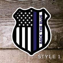"Load image into Gallery viewer, Back the Blue Decals set of 4 American Made 6"" stickers thin blue line support police - All Out Canvas"