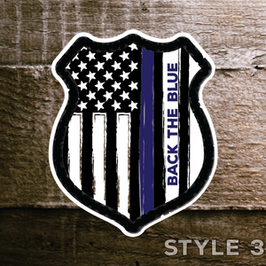 "Back the Blue Decals set of 4 American Made 6"" stickers thin blue line support police - All Out Canvas"